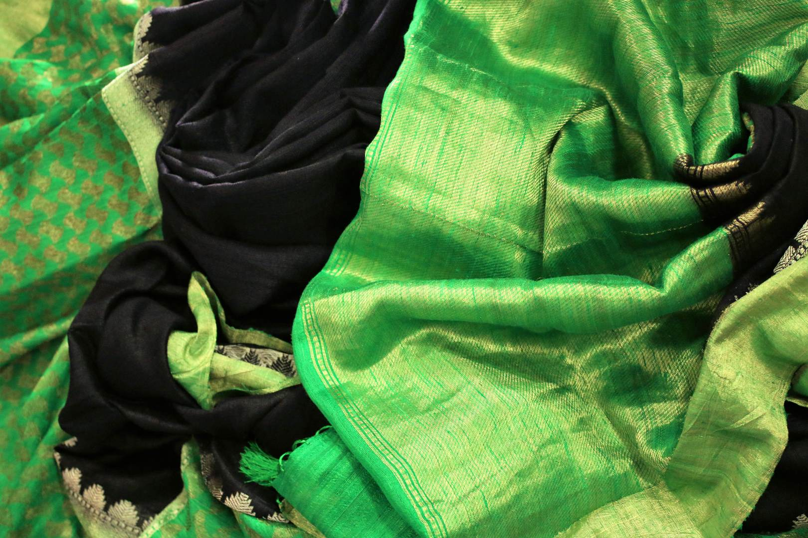 Shop black tussar Banarasi saree online in USA with green border. Explore a range of Indian wedding sarees in USA at Pure Elegance online or visit our store in USA.-details