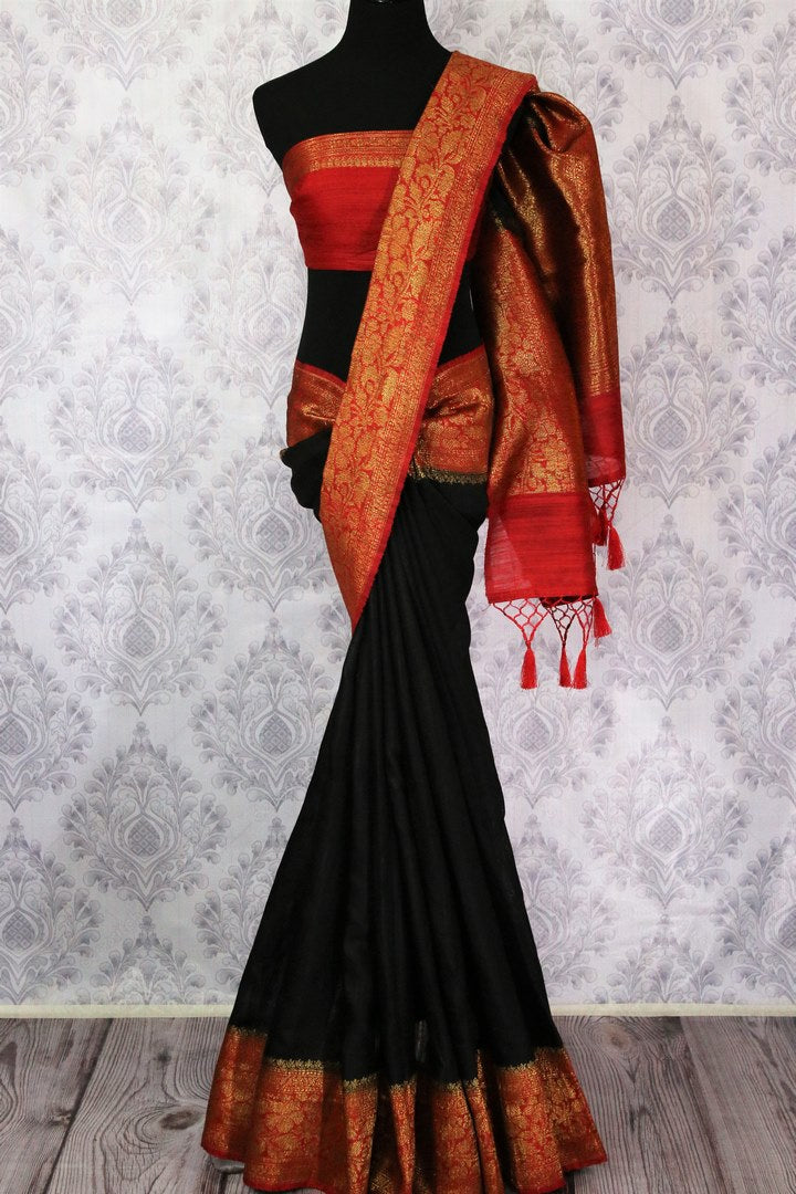 Shop black tussar Banarasi saree online in USA with red border. Explore a range of Indian wedding saris in USA at Pure Elegance online or visit our store in USA.-full view