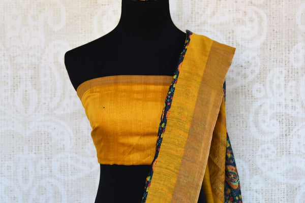Buy yellow tussar silk printed sari online in USA. Explore from a range of exquisite Indian woven silk sarees in USA at Pure Elegance fashion store or shop online.-blouse pallu