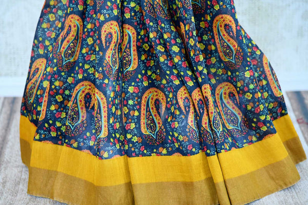 Buy yellow tussar silk printed sari online in USA. Explore from a range of exquisite Indian woven silk sarees in USA at Pure Elegance fashion store or shop online.-pleats