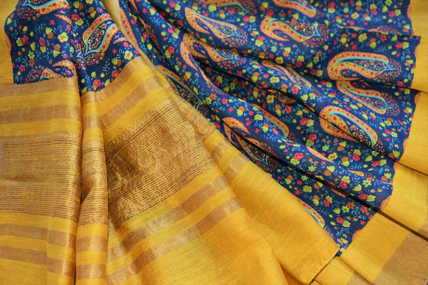 Buy yellow tussar silk printed sari online in USA. Explore from a range of exquisite Indian woven silk sarees in USA at Pure Elegance fashion store or shop online.-details