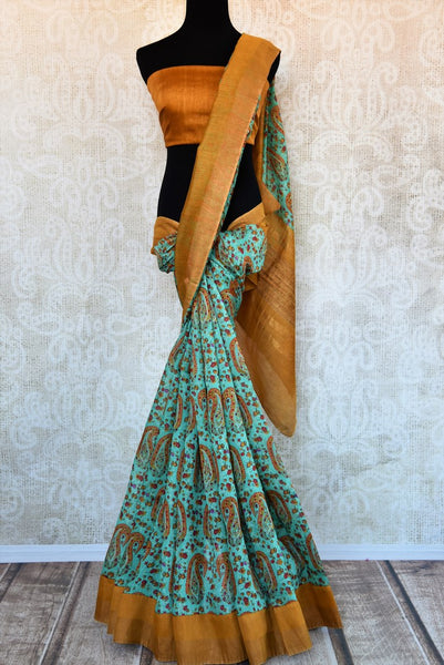Buy blue tussar silk printed saree with zari border online in USA. Explore from a range of exquisite Indian silk sarees in USA at Pure Elegance fashion store or shop online.-full view