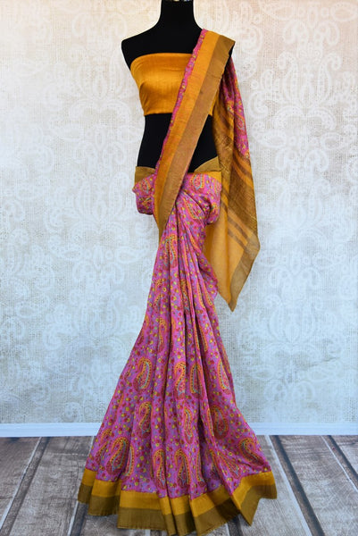 Buy pink printed tussar silk saree online in USA. Explore from a range of exquisite Indian printed silk saris in USA at Pure Elegance fashion store or shop online.-full view
