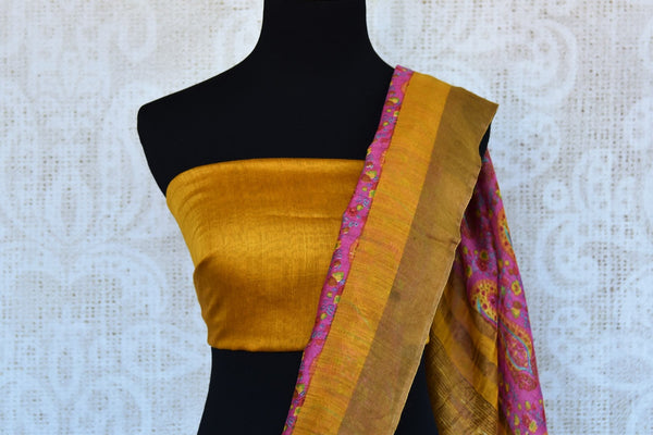 Buy pink printed tussar silk saree online in USA. Explore from a range of exquisite Indian printed silk saris in USA at Pure Elegance fashion store or shop online.-blouse pallu