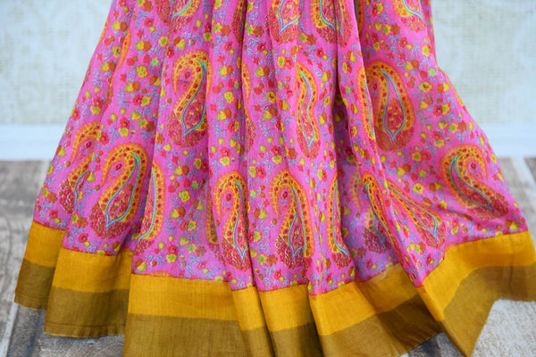 Buy pink printed tussar silk saree online in USA. Explore from a range of exquisite Indian printed silk saris in USA at Pure Elegance fashion store or shop online.-pleats