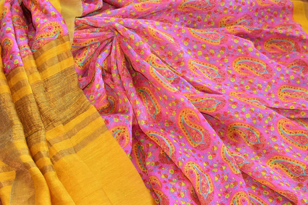 Buy pink printed tussar silk saree online in USA. Explore from a range of exquisite Indian printed silk saris in USA at Pure Elegance fashion store or shop online.-details