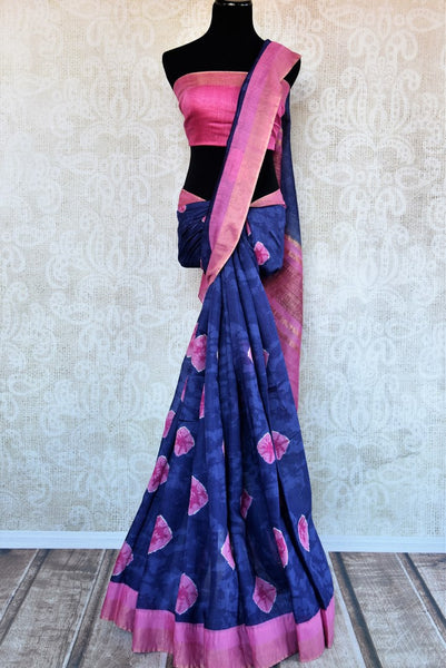 Blue printed tussar silk saree buy online in USA. Pure Elegance clothing store brings an exquisite range of  Indian designer sarees in USA for women. Shop now.-full view