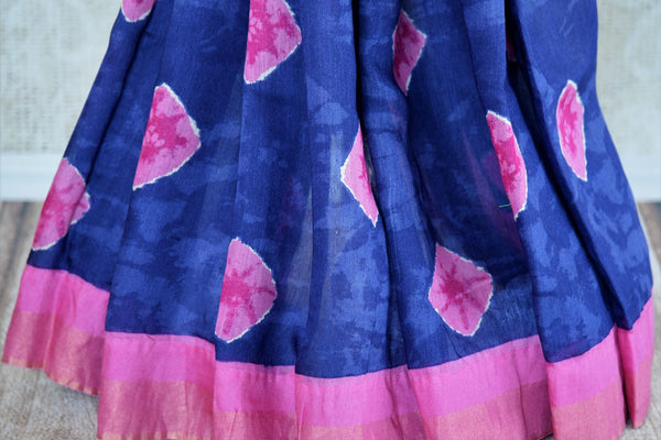 Blue printed tussar silk saree buy online in USA. Pure Elegance clothing store brings an exquisite range of  Indian designer sarees in USA for women. Shop now.-pleats