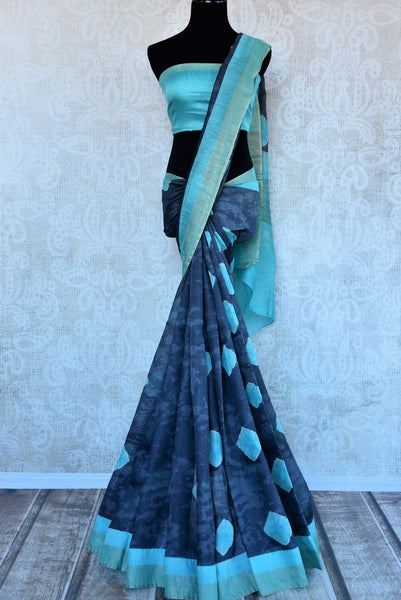 Blue printed tussar silk sari buy online in USA. Pure Elegance clothing store brings an exquisite range of  Indian designer saris in USA for women. Shop online.-full view
