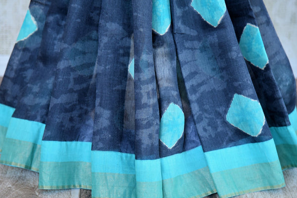 Blue printed tussar silk sari buy online in USA. Pure Elegance clothing store brings an exquisite range of  Indian designer saris in USA for women. Shop online.-pleats
