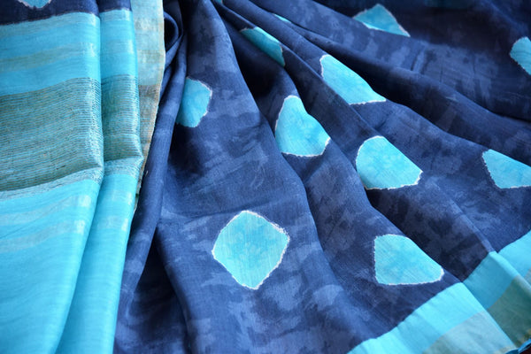 Blue printed tussar silk sari buy online in USA. Pure Elegance clothing store brings an exquisite range of  Indian designer saris in USA for women. Shop online.-details