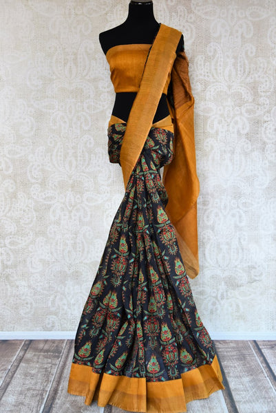 Buy elegant black printed tussar silk sari online in USA. Shop from a range of exclusive Indian designer saris at Pure Elegance online store or visit our store in USA.-full view