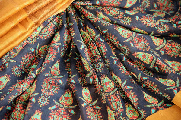 Buy elegant black printed tussar silk sari online in USA. Shop from a range of exclusive Indian designer saris at Pure Elegance online store or visit our store in USA.-details