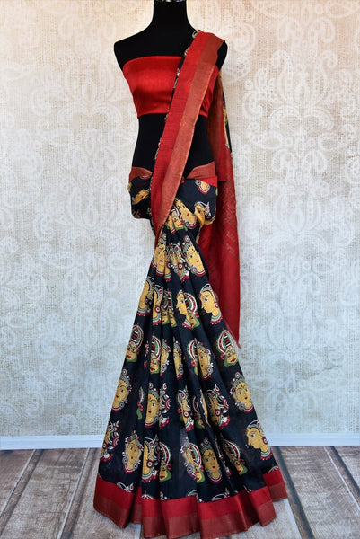 Buy classic black printed tussar silk saree online in USA. Explore from a range of exquisite Indian woven silk sarees in USA at Pure Elegance fashion store or shop online.-full view