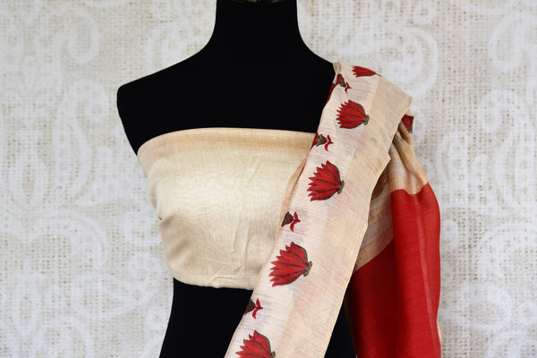 Buy off-white tussar silk saree online in USA with red floral print. Shop from a range of exclusive Indian silk saris at Pure Elegance online store or visit our store in USA.-blouse pallu
