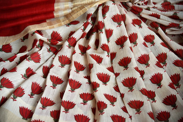 Buy off-white tussar silk saree online in USA with red floral print. Shop from a range of exclusive Indian silk saris at Pure Elegance online store or visit our store in USA.-details