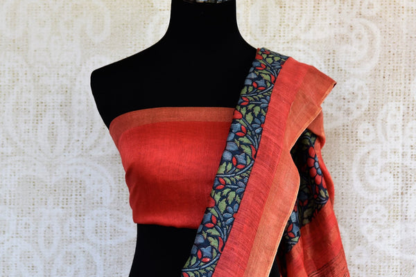 Blue floral print tussar silk sari buy online in USA. Pure Elegance clothing store brings an exquisite range of  Indian designer sarees in USA for women. Shop online.-blouse pallu