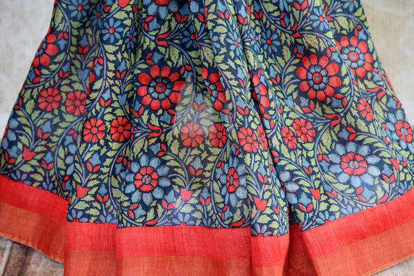 Blue floral print tussar silk sari buy online in USA. Pure Elegance clothing store brings an exquisite range of  Indian designer sarees in USA for women. Shop online.-pleats