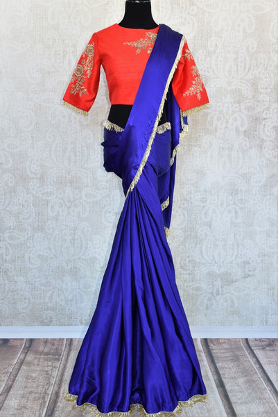 Buy ink blue satin saree with embroidered saree blouse online in USA. Exquisite collection of Indian designer sarees at Pure Elegance online store in USA. Shop online.-full view