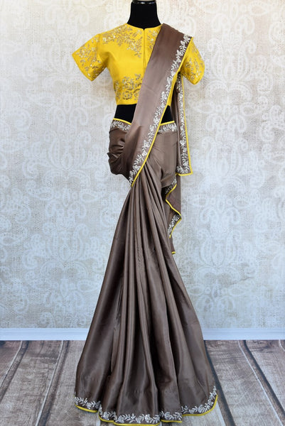 Buy grey satin silk saree with embroidered saree blouse online in USA. Exquisite collection of Indian designer sarees at Pure Elegance online store in USA. Shop online.-full view