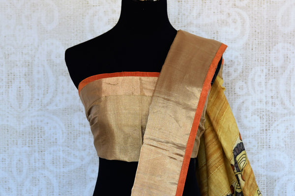 Buy black Kalamkari print chanderi saree online in USA. Explore from a range of exquisite Indian woven sarees in USA at Pure Elegance fashion store or shop online.-blouse pallu