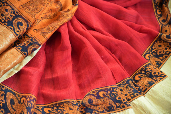 Red printed matka silk sari buy online in USA with gold border. Pure Elegance clothing store brings an exquisite range of Indian designer silk sarees in USA for women. -details