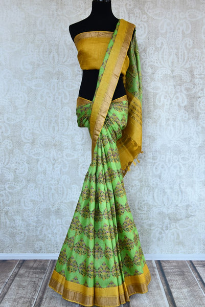 Buy light green tussar silk printed saree online in USA. Pure Elegance clothing store brings an exquisite collection of Indian designer sarees in USA for women. -full view