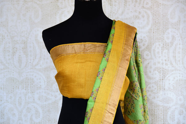 Buy light green tussar silk printed saree online in USA. Pure Elegance clothing store brings an exquisite collection of Indian designer sarees in USA for women. -blouse pallu