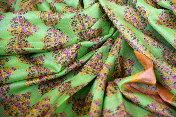 Buy light green tussar silk printed saree online in USA. Pure Elegance clothing store brings an exquisite collection of Indian designer sarees in USA for women. -details