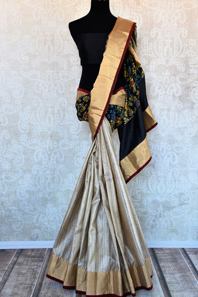 Buy gold and black half tussar silk half kalamkari print sari online in USA. Explore from a range of exquisite Indian silk sarees in USA at Pure Elegance store or shop online.-full view