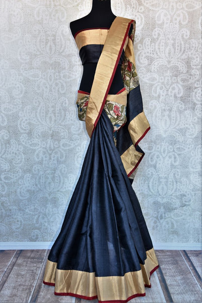 Buy black half tussar silk half kalamkari print saree online in USA. Explore from a range of exquisite Indian silk sarees in USA at Pure Elegance store or shop online.-full view
