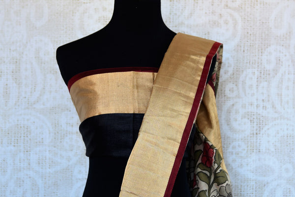 Buy black half tussar silk half kalamkari print saree online in USA. Explore from a range of exquisite Indian silk sarees in USA at Pure Elegance store or shop online.-blouse pallu