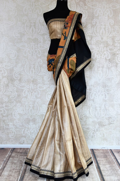 Buy beige half kalamkari print and half plain silk sari online in USA with embroidery. Pure Elegance clothing store brings exquisite range of Indian sarees in USA for women.-full view