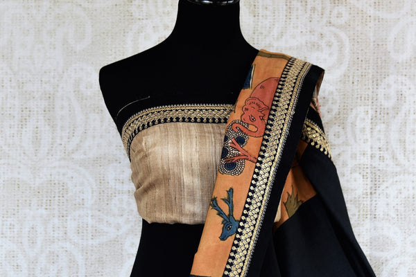 Buy beige half kalamkari print and half plain silk sari online in USA with embroidery. Pure Elegance clothing store brings exquisite range of Indian sarees in USA for women.-blouse pallu