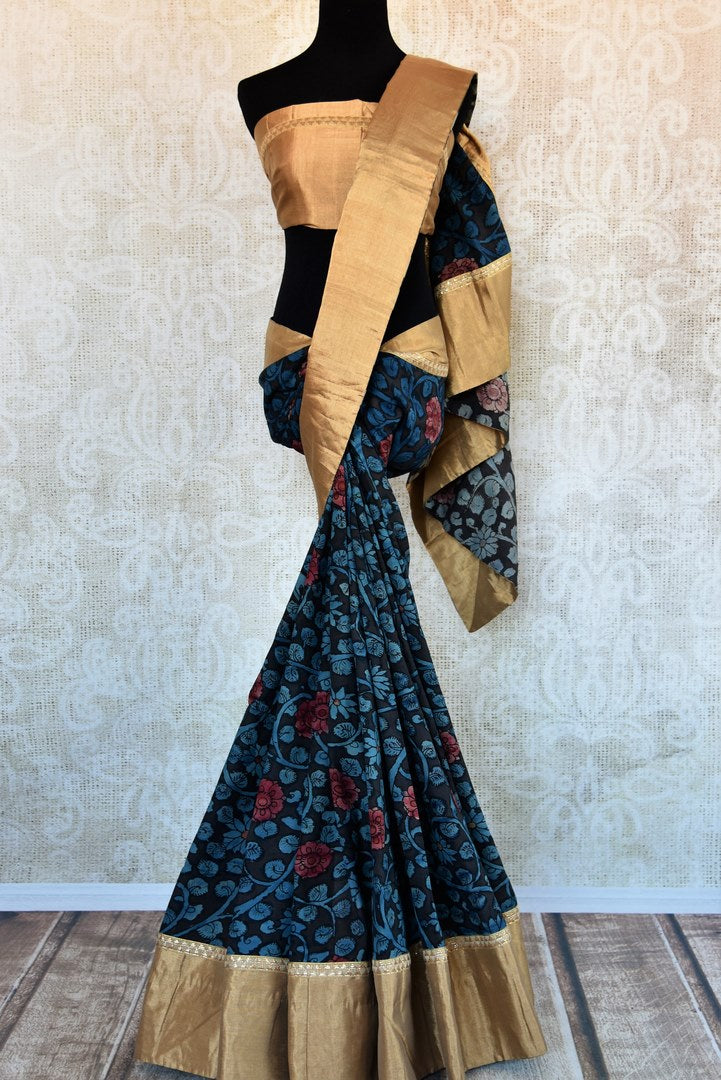 Buy black and blue kalamkari print silk saree online in USA. Explore from a range of exquisite India woven silk sarees in USA at Pure Elegance store or shop online.-full view