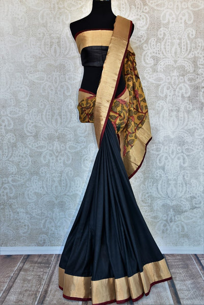 Buy black and yellow half kalamkari print half tussar silk saree online in USA. Explore from a range of exquisite India silk saris in USA at Pure Elegance store or shop online.-full view