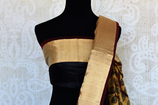 Buy black and yellow half kalamkari print half tussar silk saree online in USA. Explore from a range of exquisite India silk saris in USA at Pure Elegance store or shop online.-blouse pallu