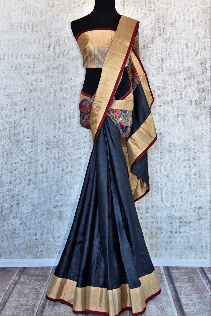 Buy black and grey half kalamkari print half tussar silk saree online in USA. Explore from a range of exquisite India silk sarees in USA at Pure Elegance store or shop online.-full view