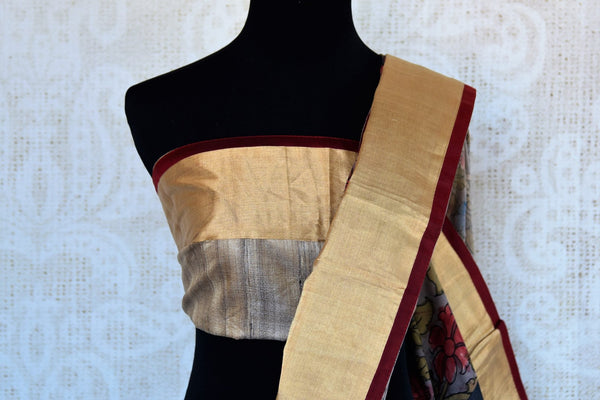 Buy black and grey half kalamkari print half tussar silk saree online in USA. Explore from a range of exquisite India silk sarees in USA at Pure Elegance store or shop online.-blouse pallu