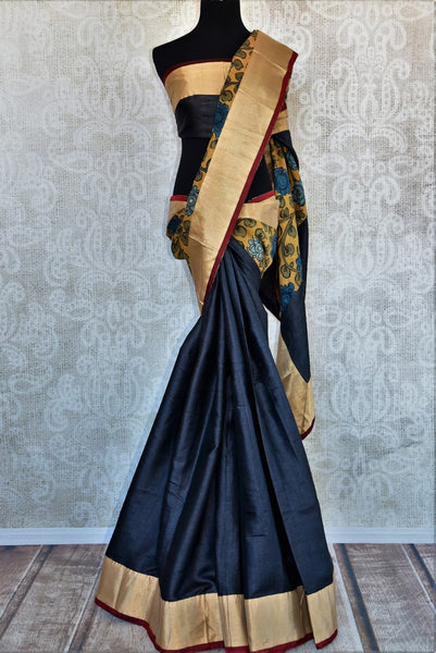 Buy black and yellow half kalamkari print half tussar silk saree online in USA. Explore from a range of exquisite India woven sarees in USA at Pure Elegance store or shop online.-full view