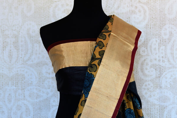 Buy black and yellow half kalamkari print half tussar silk saree online in USA. Explore from a range of exquisite India woven sarees in USA at Pure Elegance store or shop online.-blouse pallu