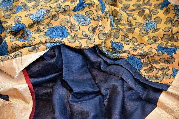 Buy black and yellow half kalamkari print half tussar silk saree online in USA. Explore from a range of exquisite India woven sarees in USA at Pure Elegance store or shop online.-details