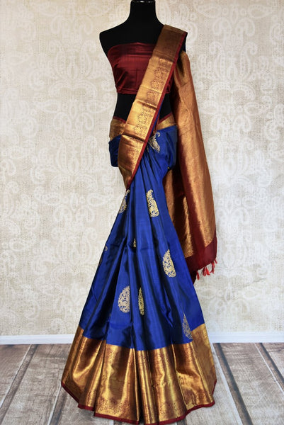 Buy blue Kanchipuram silk saree with zari border and buta online in USA. Choose from a range of exquisite Indian sarees at Pure Elegance fashion store in USA. -full view