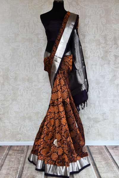 Buy elegant black and brown Kanchipuram silk saree online in USA. Explore from a range of exclusive Indian sarees at Pure Elegance clothing online store or visit our store in USA..-full view