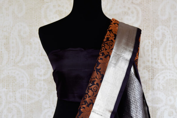 Buy elegant black and brown Kanchipuram silk saree online in USA. Explore from a range of exclusive Indian sarees at Pure Elegance clothing online store or visit our store in USA.-blouse pallu
