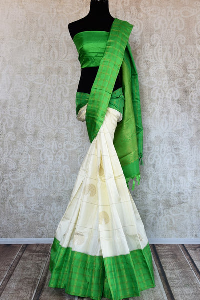 Buy online white Kanchipuram silk saree in USA. Pure Elegance clothing store brings an exquisite collection of Indian Kanjeevaram sarees for online shopping in USA.  -full view