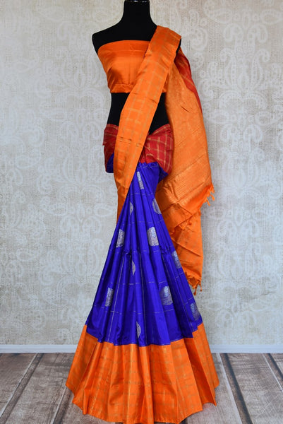 Buy online blue and orange Kanchipuram silk saree in USA. Pure Elegance clothing store brings an exquisite range of Indian Kanjeevaram saris for online shopping in USA.  -full view