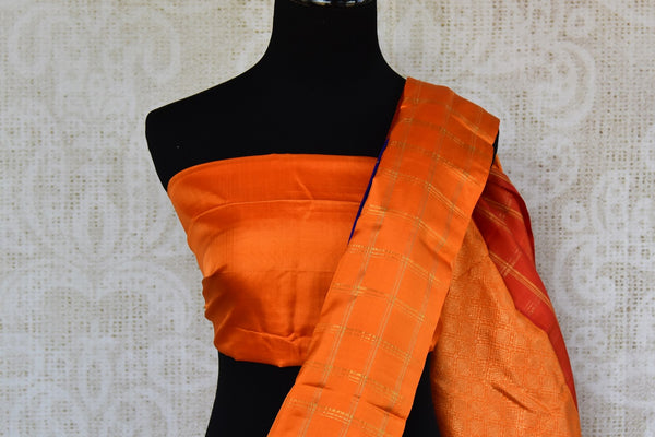 Buy online blue and orange Kanchipuram silk saree in USA. Pure Elegance clothing store brings an exquisite range of Indian Kanjeevaram saris for online shopping in USA.  -blouse pallu