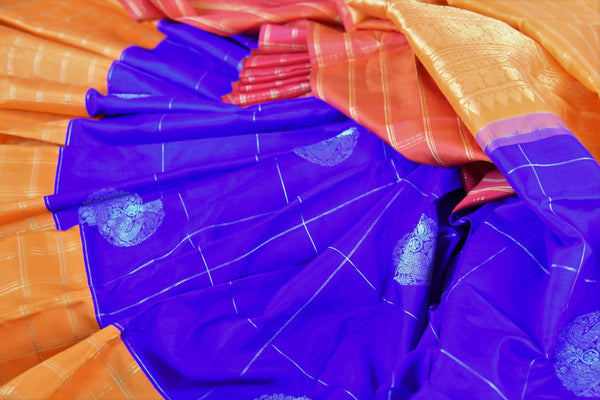 Buy online blue and orange Kanchipuram silk saree in USA. Pure Elegance clothing store brings an exquisite range of Indian Kanjeevaram saris for online shopping in USA.  -details
