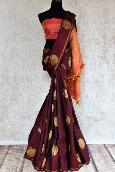 Buy maroon Kanchipuram silk saree with peacock zari buta online in USA. Explore from a range of exclusive Indian sarees at Pure Elegance clothing online store..-full view